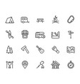 camping icon set in thin line style vector image vector image
