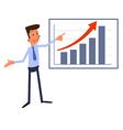 Cartoon businessman presents growth chart vector image vector image