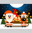 christmas card with santa claus and deer vector image