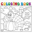 coloring book turkey bird and pumpkin 2 vector image vector image