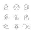 coronavirus safety linear icons on white vector image