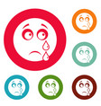 cry smile icons circle set vector image