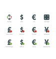 Currency Exchange color icons on white background vector image vector image