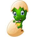 cute cartoon dinosaur hatching vector image