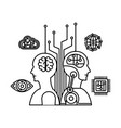 cyber humanoide profiles icons vector image