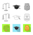 design of law and lawyer symbol set of law vector image vector image