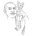 drawing funny portrait a asian man carry cute vector image vector image