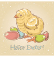 Easter vintage hand drawn card with little chicken vector image vector image