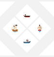 flat icon vessel set of transport delivery vector image vector image
