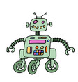 funny robot on wheels with red eyes vector image