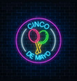 glowing neon sinco de mayo holiday sign in circle vector image