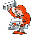 Hand-drawn of an Happy Christmas Elf with News vector image vector image