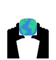 hands hold earth planet and two arm vector image vector image