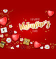 happy valentines day background with lettering vector image vector image