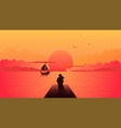 lonely woman silhouette on sunset alone dreamy vector image vector image
