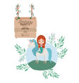 mermaid with unicorn and wooden label invitation vector image vector image