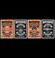 motorcycle garage and repair service set four vector image
