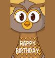 owl cute birthday card vector image vector image