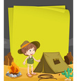 Paper design with boy camping out at night vector image vector image