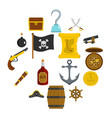 pirate icons set in flat style vector image vector image