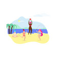 plus size girls doing sport exercises on beach vector image vector image