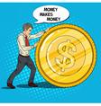 Pop Art Businessman Rolls Gold Dollar Coin vector image