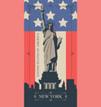 postcard with statue of liberty and american flag vector image vector image