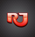r and j letters ligature sign luxury design vector image