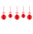 red christmas decoration balls from ribbon with vector image vector image