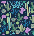 seamless pattern with cacti on a blue background vector image