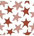 seastars seamless pattern hand drawn marine vector image vector image