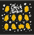 set of cute cartoon chickens for easter design vector image vector image