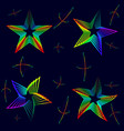 set of neon stars on a black background vector image