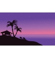 Silhouette of hut in beach at summer vector image vector image