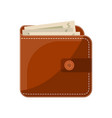 stylish male leather wallet isolated icon vector image vector image