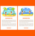 summer fun children at beach seaside relaxation vector image vector image