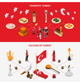 Turkish Culture 2 Isometric Touristic Banners vector image vector image