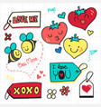 valentine doodle love tag and romantic icon vector image
