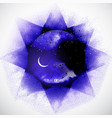 violet space background with stars and crescent vector image vector image