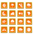weater icons set orange square vector image vector image