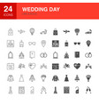 wedding day line web glyph icons vector image vector image