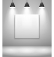 White gallery interior with frame vector image
