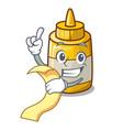 with menu yellow mustard in plastic bottle cartoon vector image