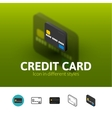 Credit card icon in different style vector image