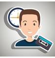man cartoon cassette vector image