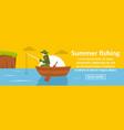 summer fishing banner horizontal concept vector image
