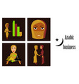 assembly of flat icons on theme arabic business vector image vector image