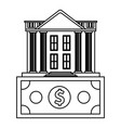 bank building with money symbol black and white vector image