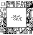 Black and white geometric frame vector image vector image