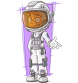 Cartoon astronaut in white space suit vector image